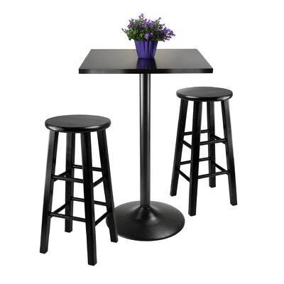 Winsome Obsidian 3 Piece Counter Height Dining Set