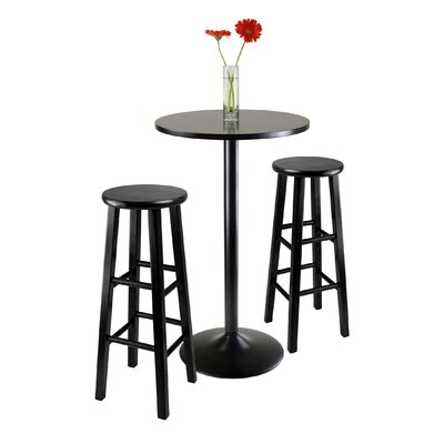 Winsome Obsidian 3 Piece Pub Table Set