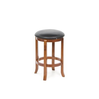 "Winsome 24"" Faux Leather Swivel Stool in Antique Walnut (Set of 2)"