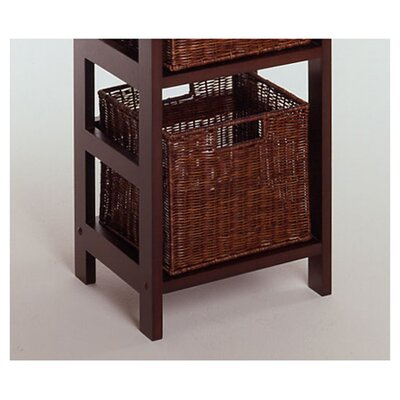 Winsome Espresso 4 Section Storage Shelf and Baskets
