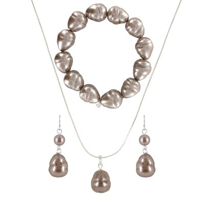 Roman Baroque Cultured Pearl 3 Piece Necklace, Bracelet, and Earring Set