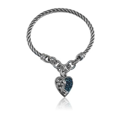 Bali Bling Sterling Silver Crystal Antiqued Heart Filigree Cable Cuff Bracelet