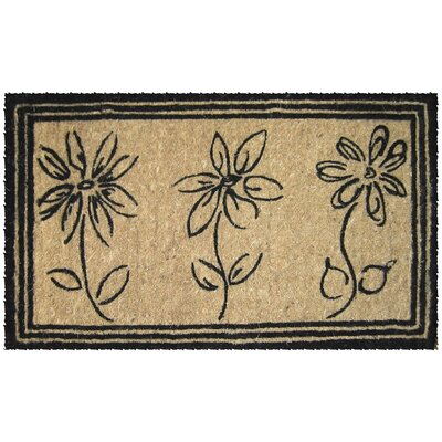 Entryways Handwoven Extra Thick Sketchbook Flowers Coconut Fiber Doormat