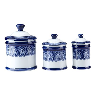 New beautiful blue white porcelain canister set 3 for Blue kitchen set