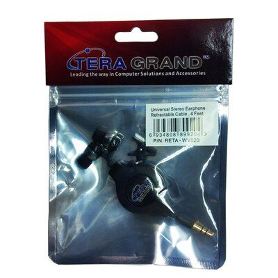 Tera Grand Retractable Earphone Cable, Black, 1.2M