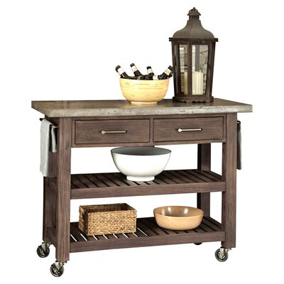 home styles concrete chic kitchen island with concrete top