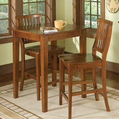 Home Styles Arts and Crafts 3 Piece Counter Height Pub Table Set in Cottage Oak