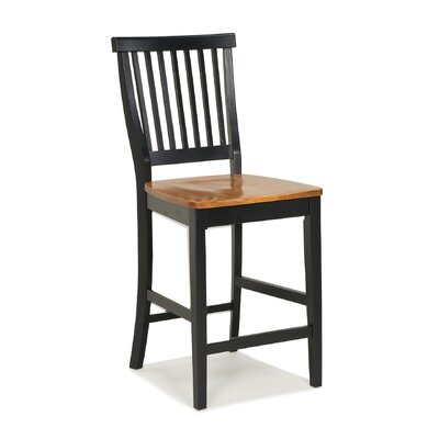 Kitchen Stool with Oak Seat in Black