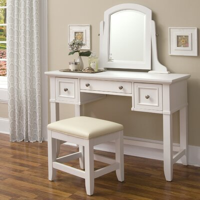 Home Styles Naples Vanity Table and Bench Set in White