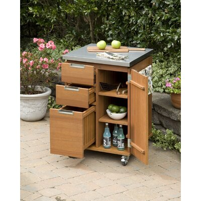 Home Styles Montego Bay Patio Kitchen Cart with Stainless Steel Top