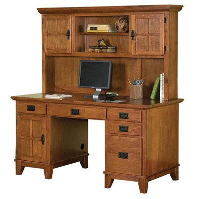 Arts and Crafts Pedestal Computer Desk and Hutch