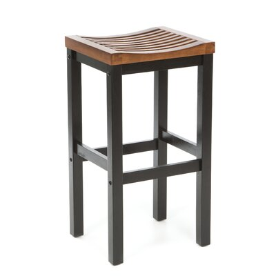 "Home Styles 29"" Black Contour Stool w/ Oak Top"