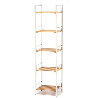 Zingz & Thingz Chrome and Bamboo Slatted Shelves