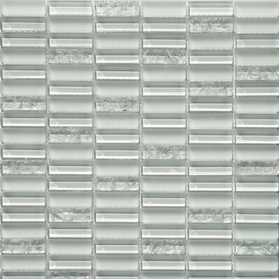 "Faber Jayda Series 12"" x 12"" Mixed Crackled Glass Mosaic in Ice"