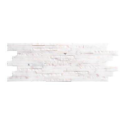 MosaicPlus Random Sized Mesh-Mounted Marble Mosaic in White