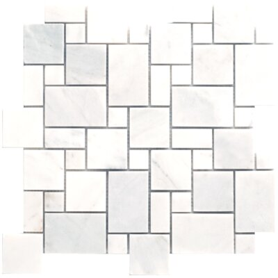 Faber Carrara Extra Random Sized Marble Mosaic Mini Pattern Polished Tile in White