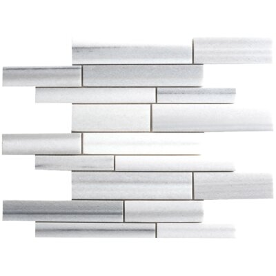 Faber Equator Random Sized Marble Mosaic Strip Polished Tile in White and Gray