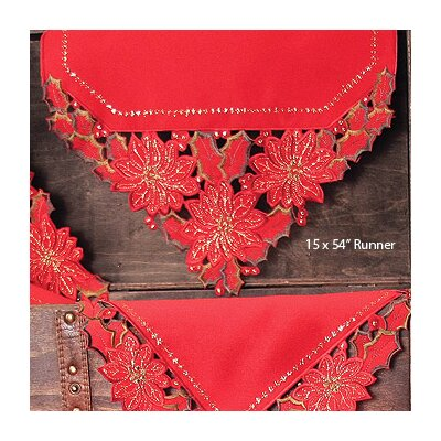 Holiday Spirit Embroidered Cutwork Holiday Table Runner