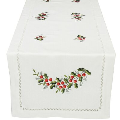 Holly Berry Embroidered Hemstitch Holiday Table Runner