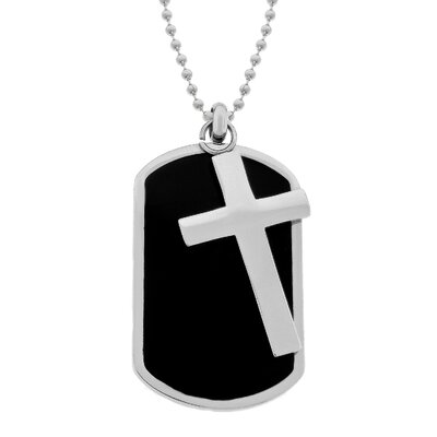 GoldnRox Stainless Steel Cross and Dog Tag Pendant