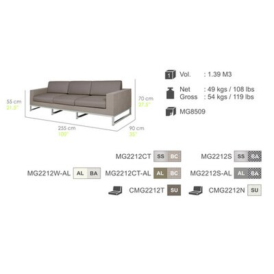 Mamagreen Quilt 3-Seater Sofa with Cushion