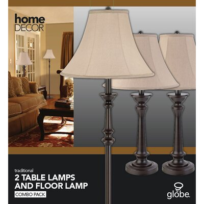 Globe Electric Company Room Full 1 Light Table Lamp (Set of 2) and Floor Lamp