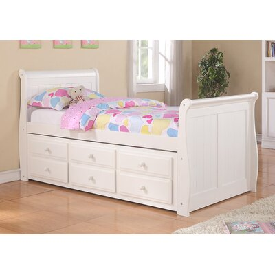 donco kids sleigh captain bed with trundle and storage drawers reviews wayfair. Black Bedroom Furniture Sets. Home Design Ideas