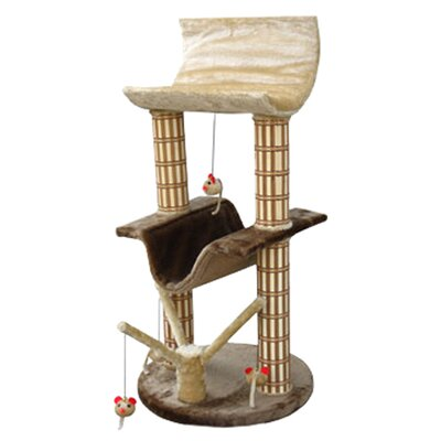 "42"" Multi-Level Lounger Bamboo Post Cat Tree in Brown/Beige"
