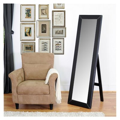 Wholesale Interiors Baxton Studio McLean Modern Mirror with Built in Stand in Dark Brown