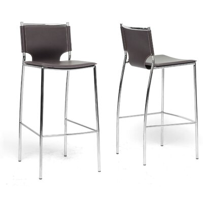 Wholesale Interiors Baxton Studio Montclare Bonded Leather Modern Barstool (Set of 2)