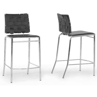 Wholesale Interiors Baxton Studio Vittoria Bonded Leather Modern Counter Stool (Set of 2)