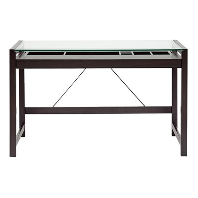 Wholesale Interiors Baxton Studio Idabel Wood Modern Writing Desk with Glass Top