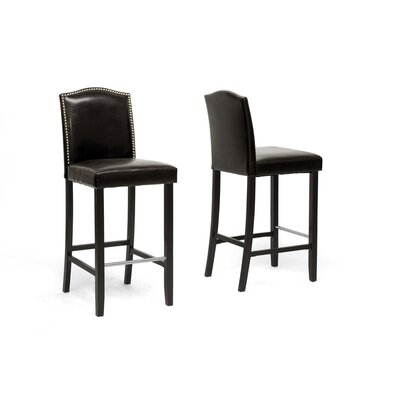 Baxton Studio Libra Bar Stool with Nail Head Trim (Set of 2)