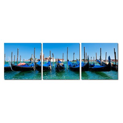 Baxton Studio Gondola Fleet Mounted 3 Piece Photographic Print on Canvas Set