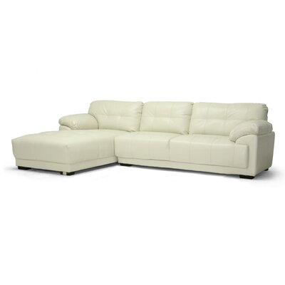 Baxton Studio DeCarlo Leather Sectional with Left Facing Chaise