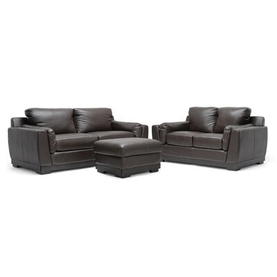Baxton Studio Cronus Leather Sofa Set