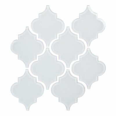 Water Jet Glass Tile in Ornamental Bright White