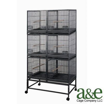 A&E Cage Co. 3 Level Cage with 3 Removable Dividers and 6 Units