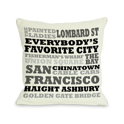 San Francisco Subway Style Words Pillow