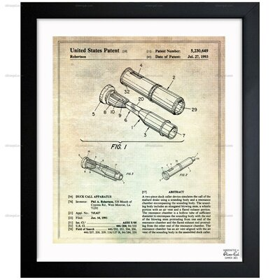 Duck Call Apparatus 1991 Framed Graphic Art