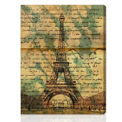 "Oliver Gal ""Eiffel Words"" Graphic Art on Canvas"
