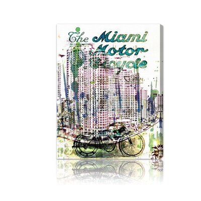 "Oliver Gal ""Miami Motorcycle"" Canvas Art Print"