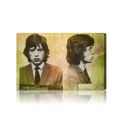 Oliver Gal ''Mick Jagger Mugshot'' Graphic Art on Canvas