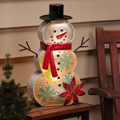 Winter Wonderland Snowman Electric Lamp