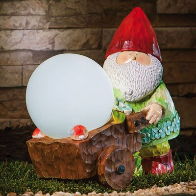 Forest Light Gnome with Wheelbarrow Statue and Solar Gazing Globe