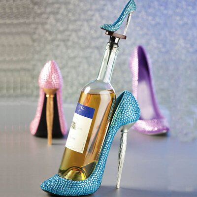 Cypress Home Polystone Rhinestone High Heel Wine Bottle Holder