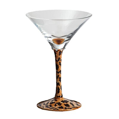 Leopard Handpainted Frosted Martini Glass with Rhinestones