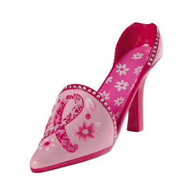Ribbon Floral Polystone High Heel Wine Bottle Holder