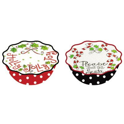 Cypress Home Happy Holly Days Ceramic Hand Painted Bowl (Set of 2)