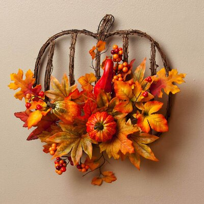 Autumn Inspiration Pumpkin Frame Floral Wall Decor
